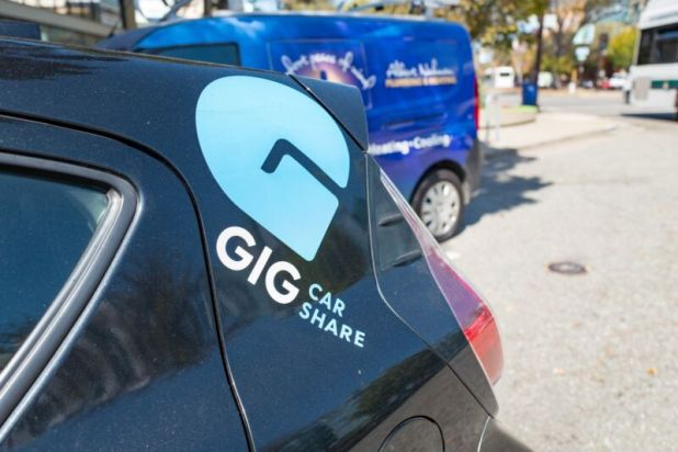 Cars: One of GIG Car Share's Toyota Priuses on a street in Berkley, California.