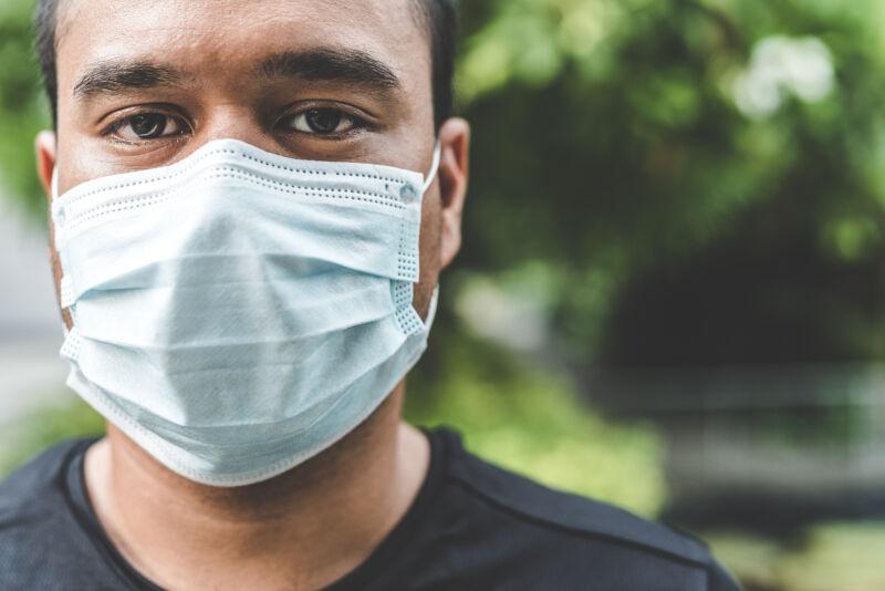 Man wears mask