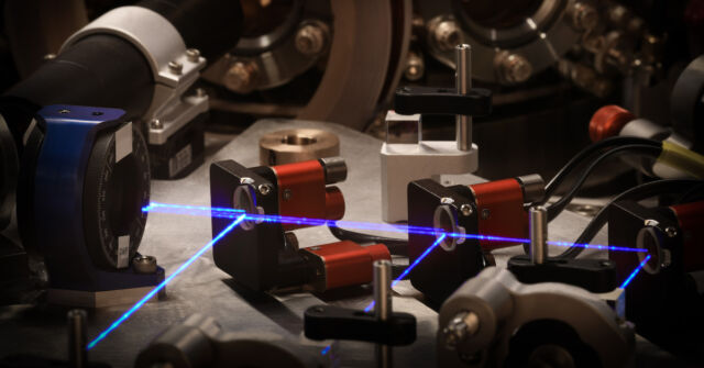 There are a LOT of lasers involved in controlling the states of these qubits.