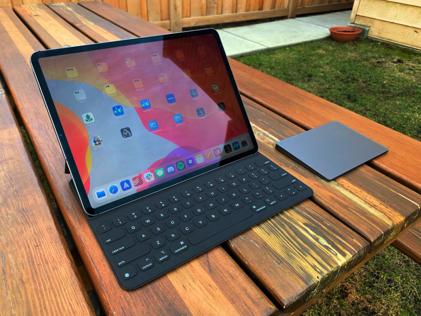 An iPad with the right peripherals can offer a pleasant escape from your desk.