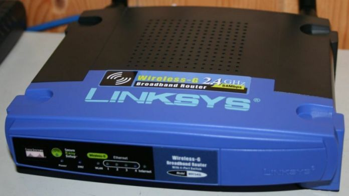 Photo of a Linksys router.
