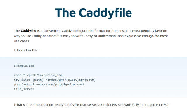 There's a noob trap lurking in this sample Caddyfile—that try_files directive is unnecessary for most sites and caused our WordPress redirect loop.