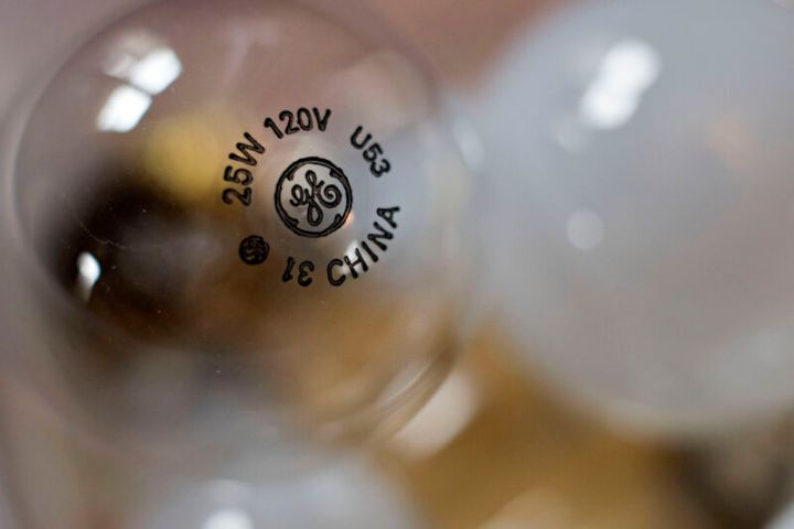 A good old-fashioned General Electric lightbulb, which not only is no longer incandescent but also no longer made by GE.