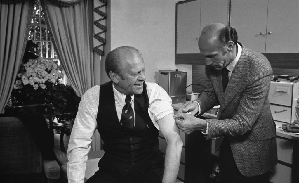 Former US president Gerald Ford receives a swine flu shot in 1976.