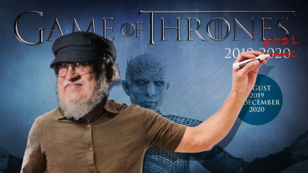 Photoshop image of the author George RR Martin standing in front of a promotional image from the television program Game of Thrones.