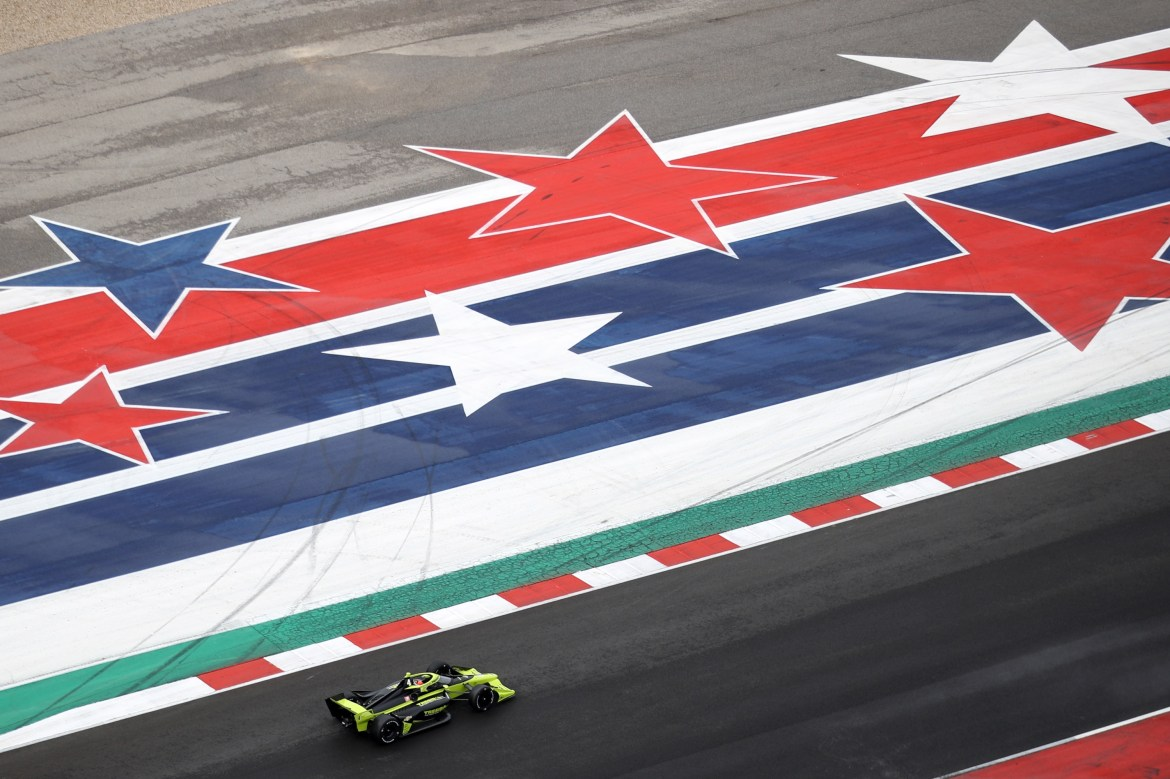 Kimball during testing at Circuit of The Americas on February 12, 2020. I mainly included this picture because today is July 4 and there are huge stars and stripes in it.