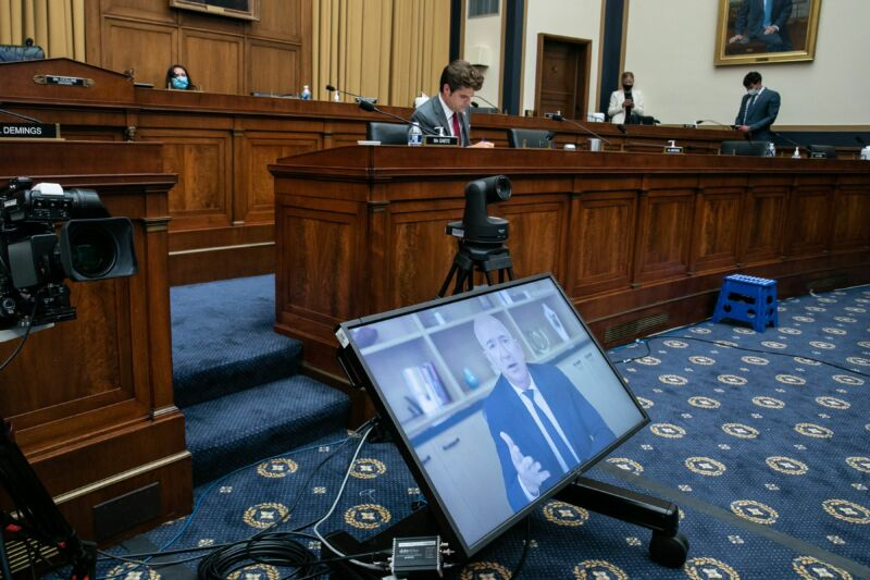 """Amazon CEO Jeff Bezos testifies (remotely) before the House Judiciary Subcommittee on Antitrust, Commercial and Administrative Law hearing on """"Online Platforms and Market Power"""" in the Rayburn House office Building on Capitol Hill in Washington, DC on July 29, 2020."""