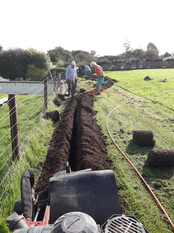 fiber ducting trench dug by B4RN volunteers in Caton.