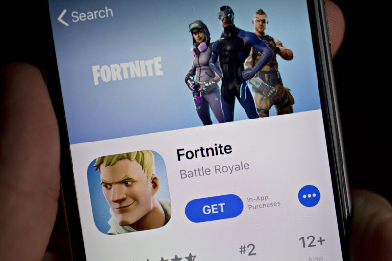 <em>Fortnite</em> seen in the App Store on an iPhone on May 10, 2018.