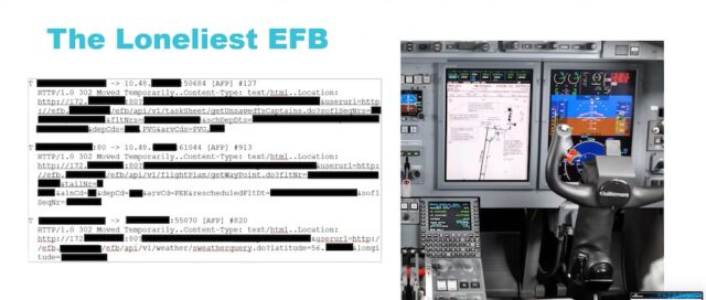 An electronic flight bag sending sensitive avionics information through HTTP.