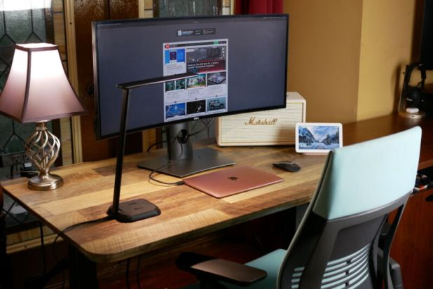 Windows Phone: Vari Standing Desk with a monitor and laptop setup
