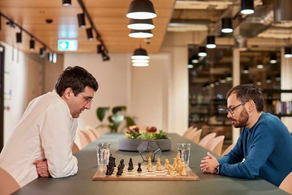 Former chess world champion Vladimir Kramnik, left, worked with Alphabet's DeepMind, founded by Demis Hassabis, right, to explore new forms of chess using artificial intelligence.