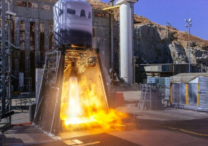 Hot fire test of integrated second stage for ABL Space System's RS1 rocket in the fall of 2020.