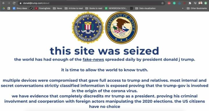 Screenshot of the Trump campaign's website while it was defaced by hackers. The defacement message says