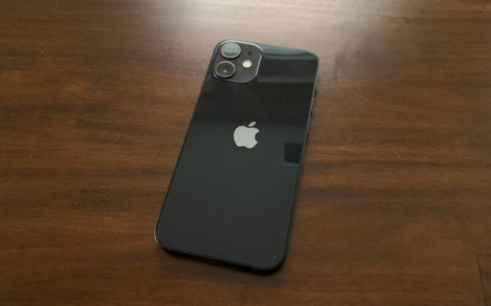 The back of the iPhone 12 mini