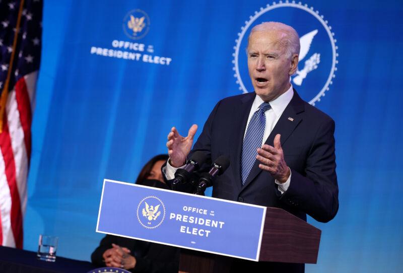 President-elect Joe Biden delivers remarks January 07, 2021 in Wilmington, Delaware.