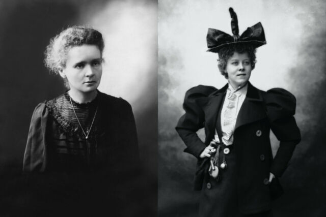 (left) Portrait of Marie Curie, circa 1890. (right) Formal portrait of Loïe Fuller.