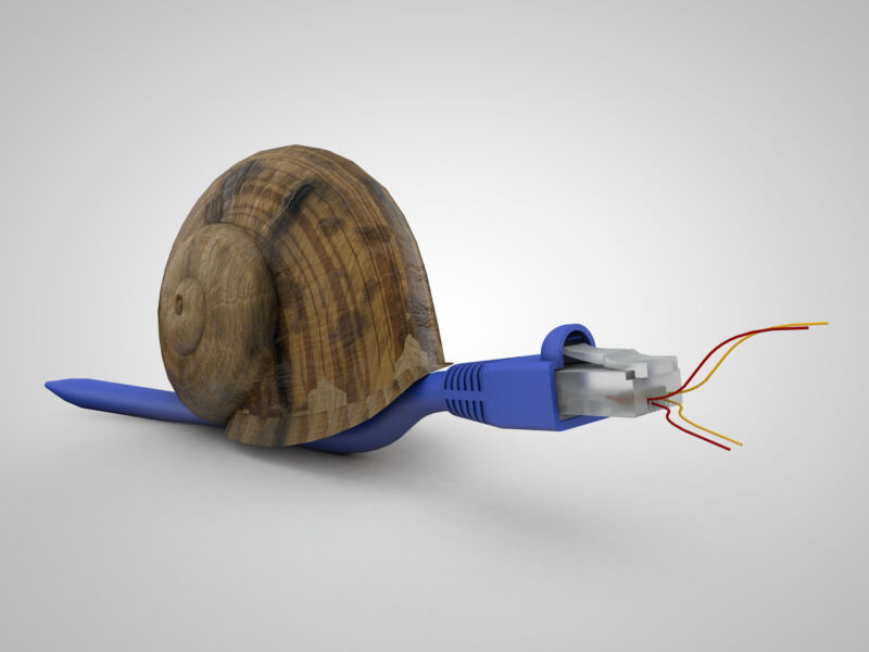 Illustration of a snail that looks like an Internet cable.