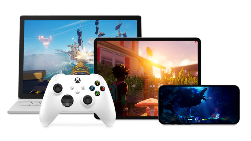 Promotional image of multiple Microsoft devices against a white background.