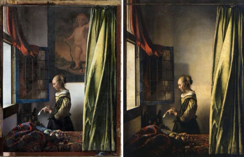Side-by-side comparison of painting before and after restoration.