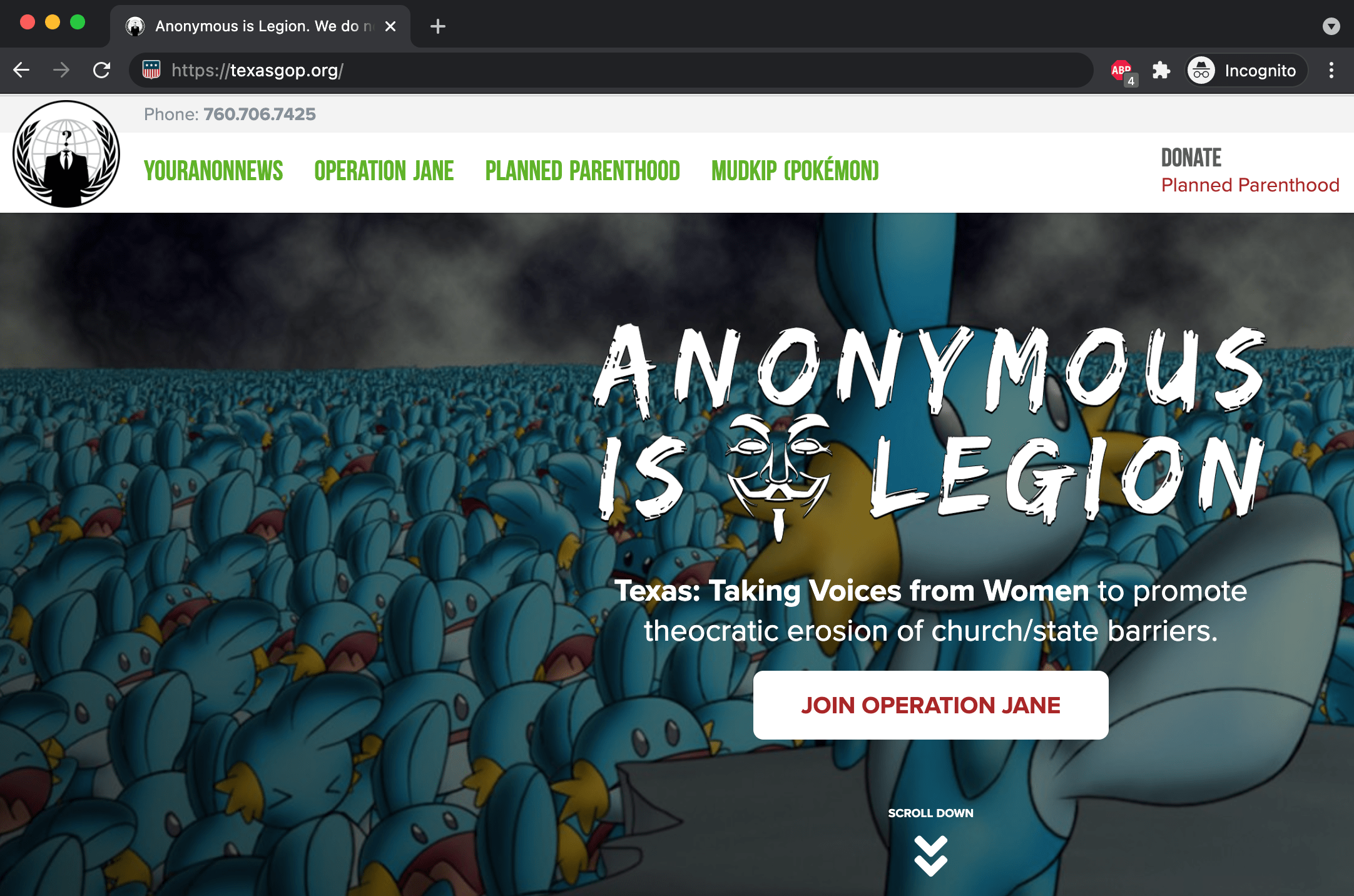 Texas Republican Party's website defaced by Anonymous this month.