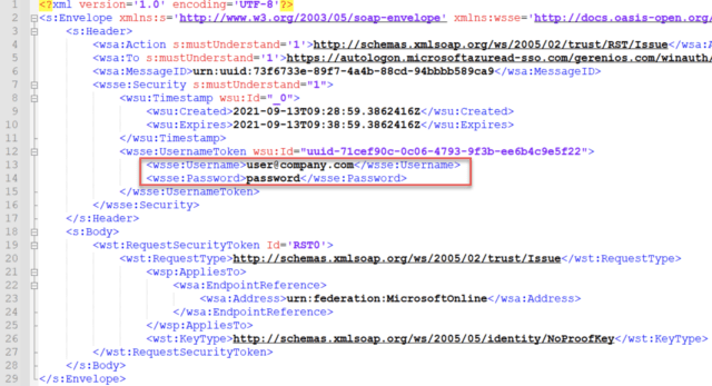 XML file containing username and password.