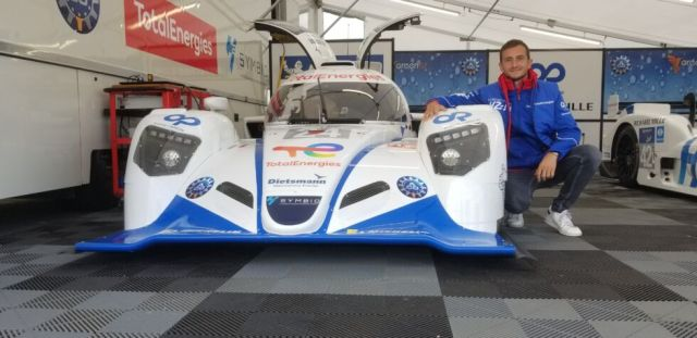 Stéphane Richelmi and the hydrogen-powered car that took him for a lap of Le Mans.
