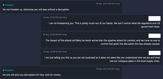 Negotiation chat between NEW Cooperative and BlackMatter ransomware operation.
