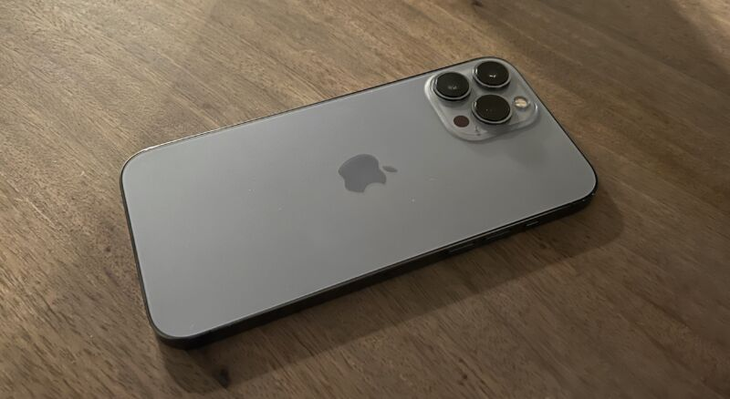 The iPhone 13 Pro Max, photographed by the iPhone 13 Pro in low light.