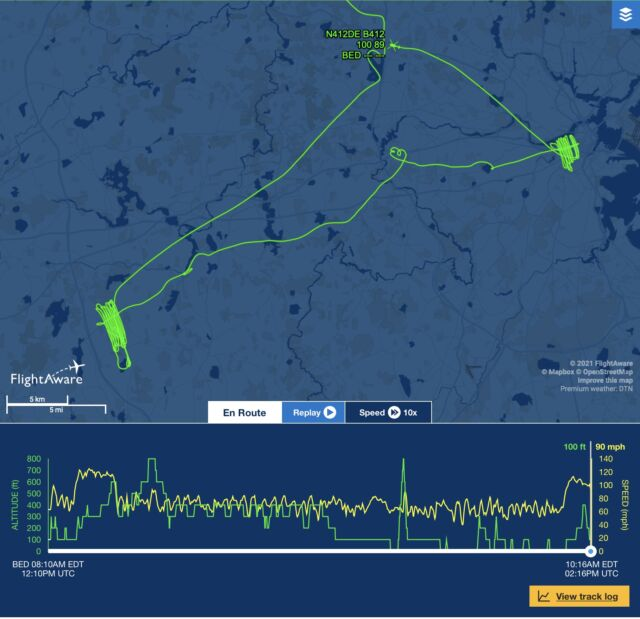 Flight path for N412DE on the morning of October 8, 2021.