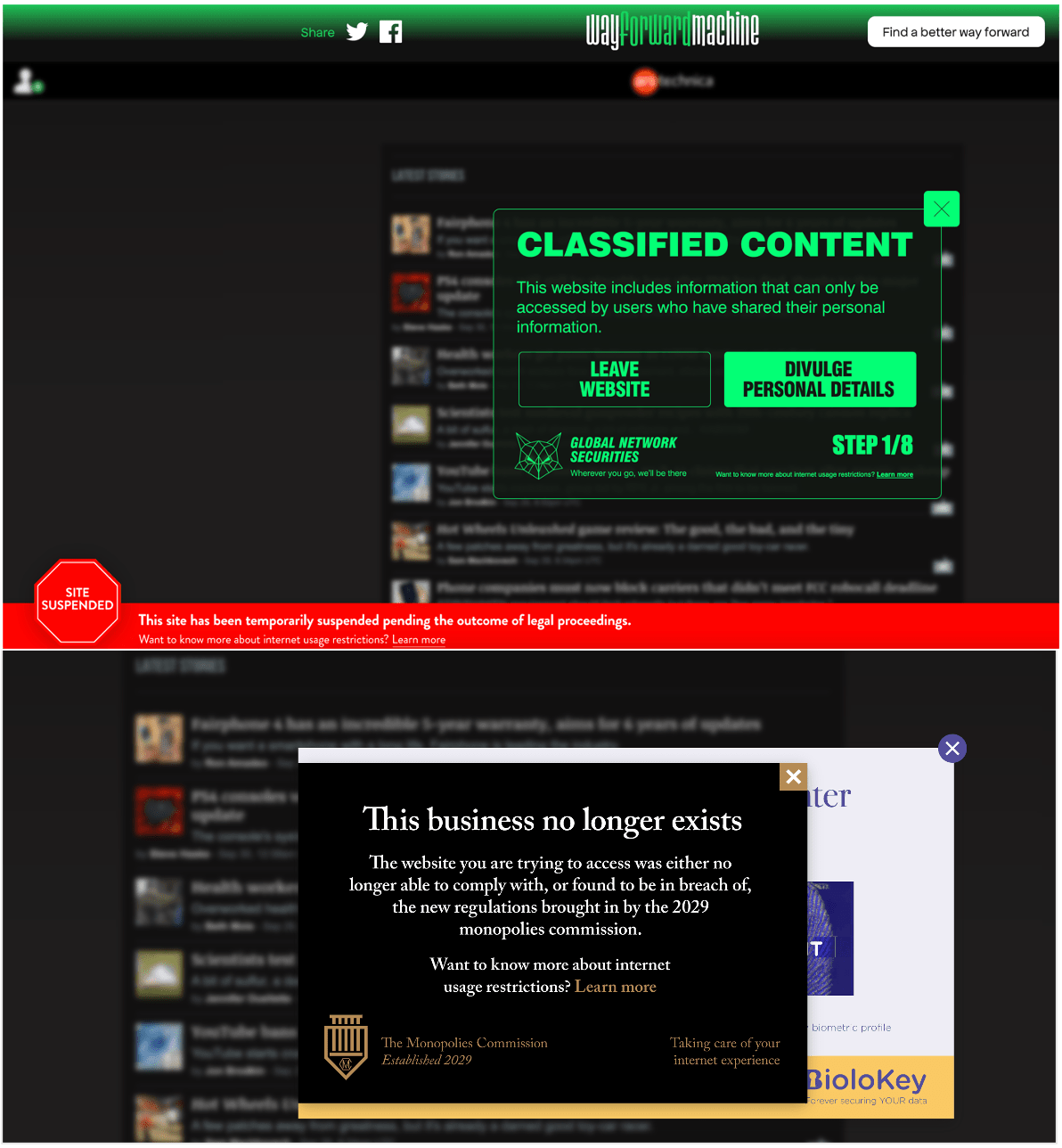 Wayforward Machine results for arstechnica.com.