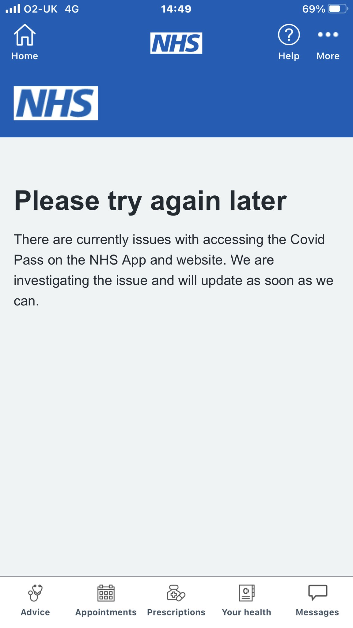 NHS app goes down for hours.