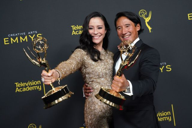 LOS ANGELES, CALIFORNIA - SEPTEMBER 14: Elizabeth Chai Vasarhelyi (L) and Jimmy Chin pose in the press room with their awards for outstanding directing for a documentary / nonfiction program for 'Free Solo' during the 2019 Creative Arts Emmy Awards on September 14, 2019 in Los Angeles, California. (Photo by JC Olivera/WireImage)