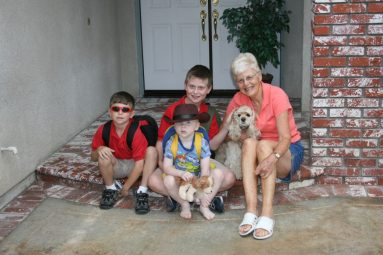 my three boys with Grammy and Raisin for tribute to my mom by Denise M. Colby - thank you, mom