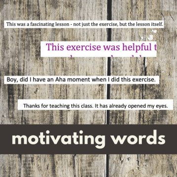 caption: motivating words helps me accomplish goals, screen shots of words emailed back to Denise M. Colby from the class she's teaching.