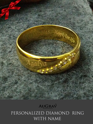 Name Engraved Gold Rings Wedding Couple Rings Wedding