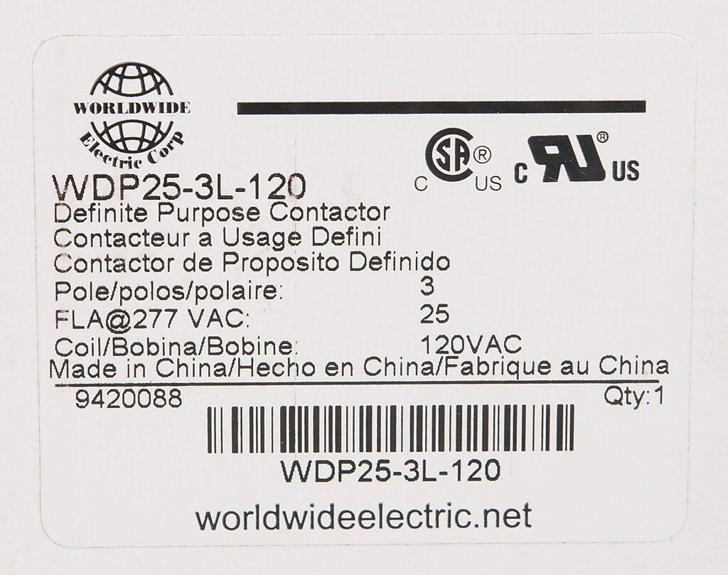 Definite Purpose Contactor 25a 120 Vac 50 60 Hz Coil