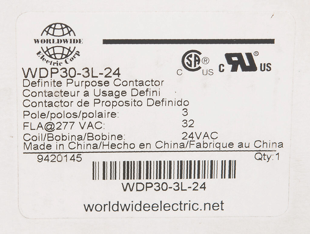 Definite Purpose Contactor 32a 24 Vac 50 60 Hz Coil