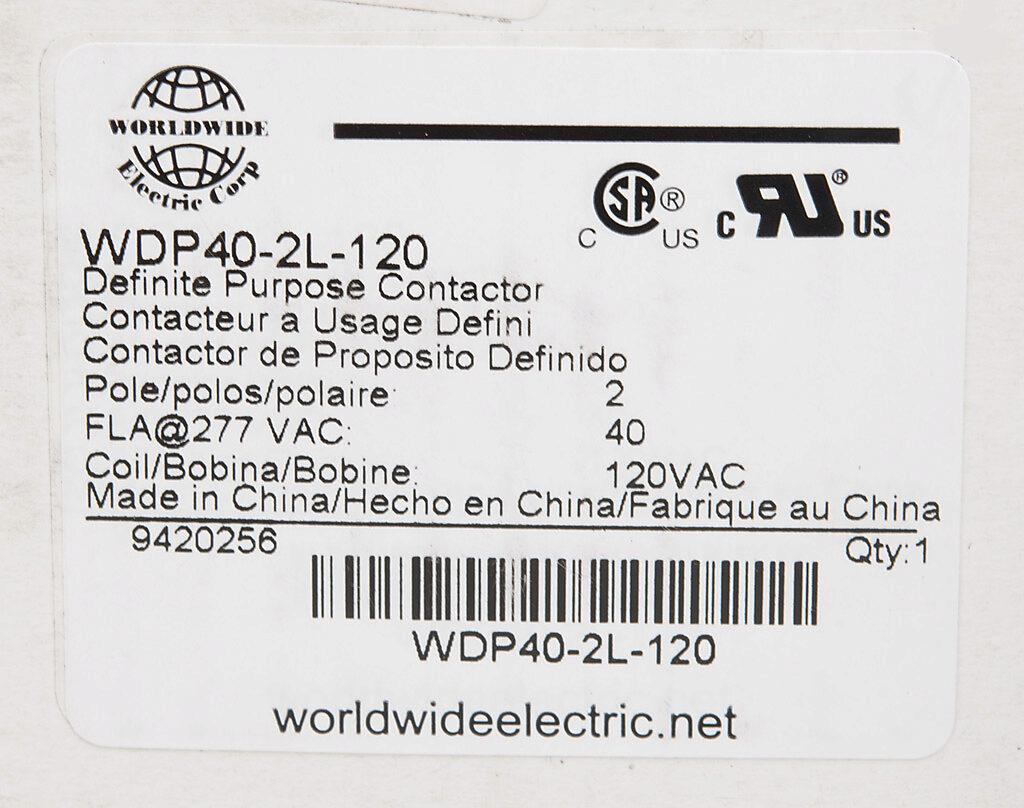 Definite Purpose Contactor 40a 120 Vac 50 60 Hz Coil