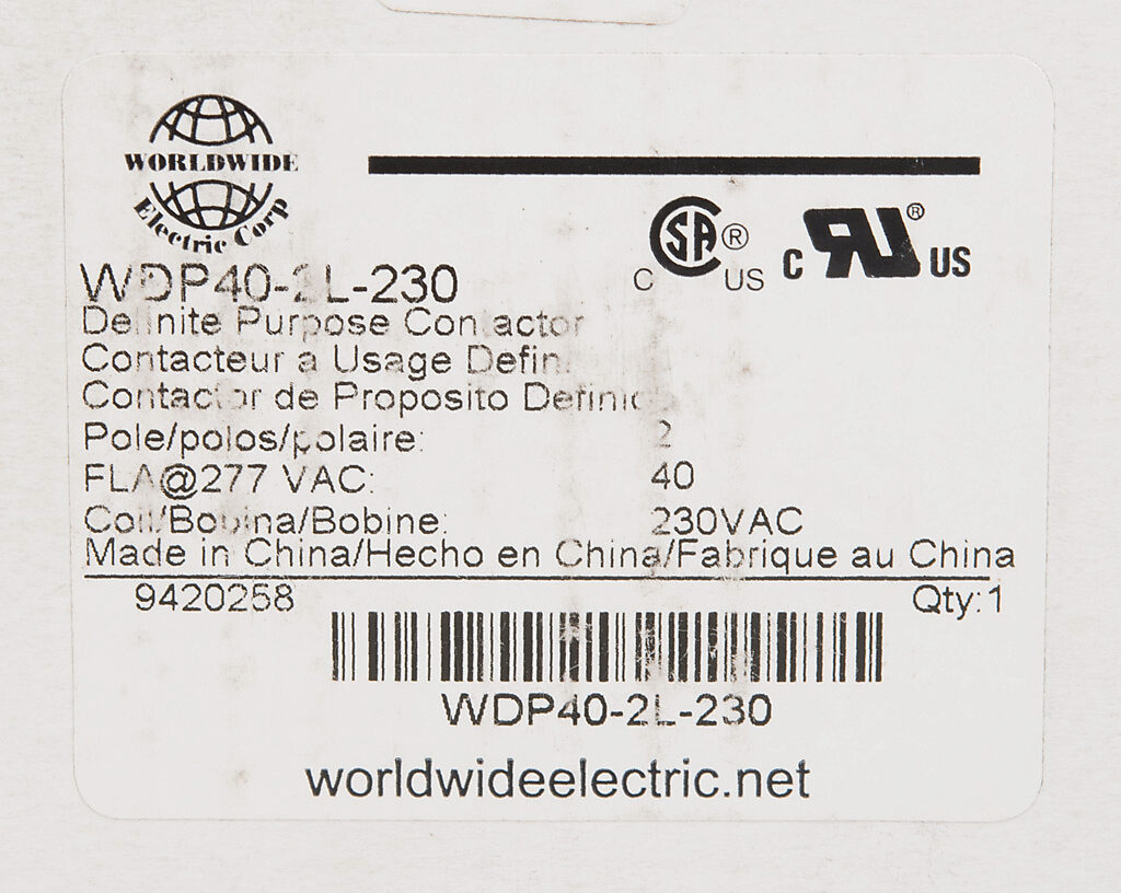 Definite Purpose Contactor 40a 230 Vac 50 60 Hz Coil