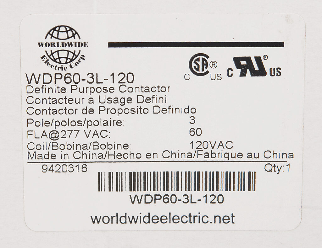 Definite Purpose Contactor 60a 120 Vac 50 60 Hz Coil