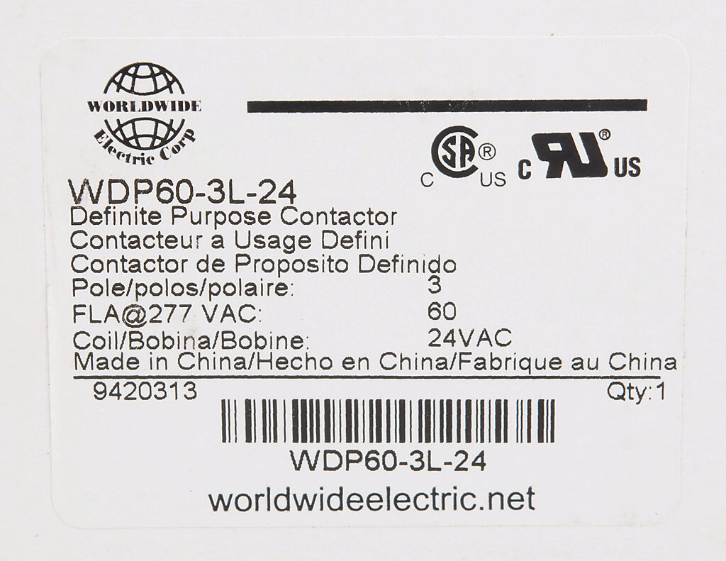 Definite Purpose Contactor 60a 24 Vac 50 60 Hz Coil