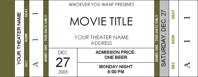 Theatre Ticket Template to print the click on print your own – Theater Ticket Template