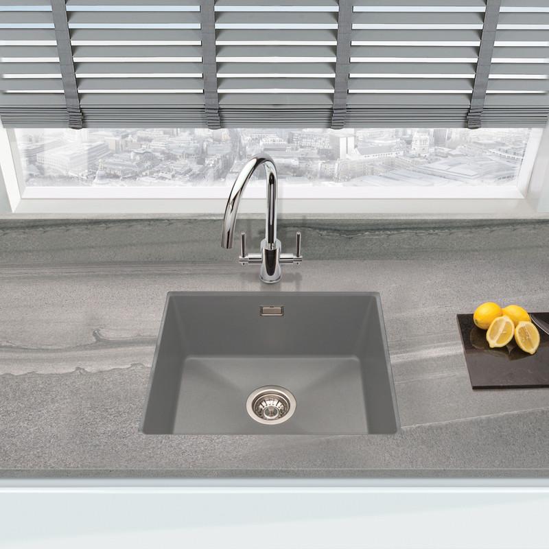 granite composite undermount kitchen sink single bowl grey