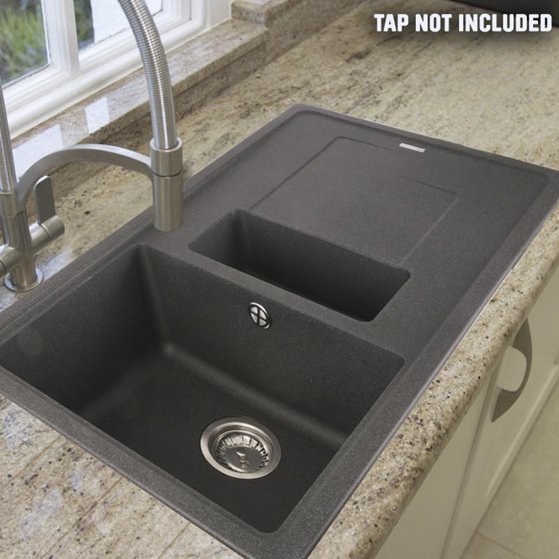 franke titan reversible composite kitchen sink drainer 1 5 bowl graphite