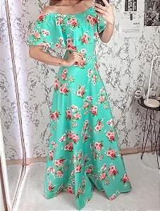 Vestido Longo Verde Floral em Suplex Soft Intermediário - Moda Cristã -  Flor de Amêndoa