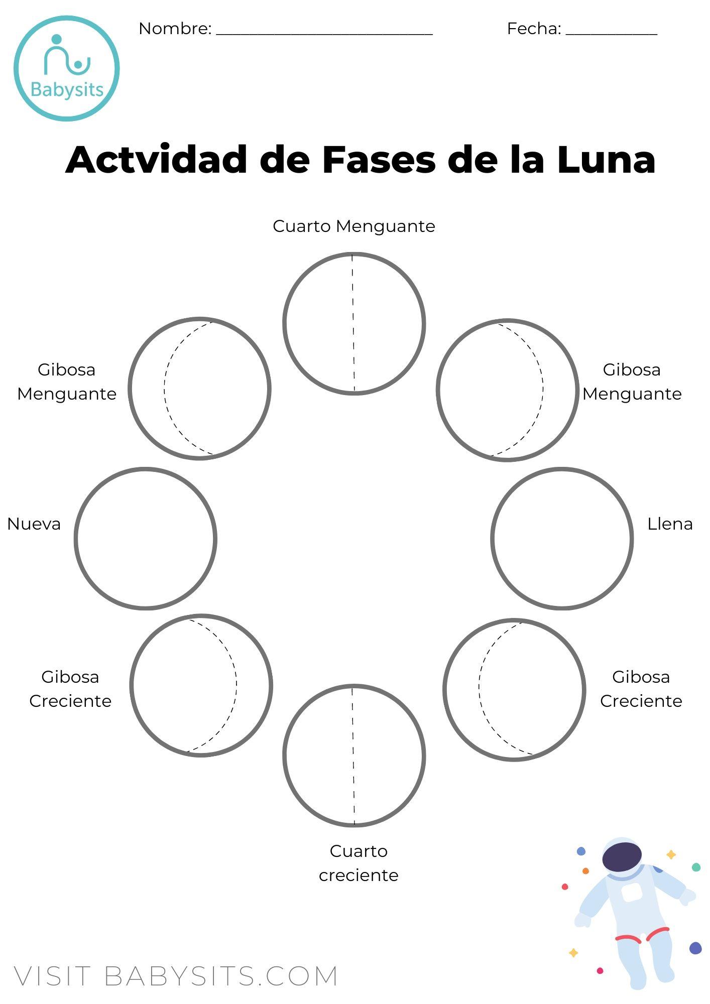 Actividad De Fases De La Luna Para Ninos