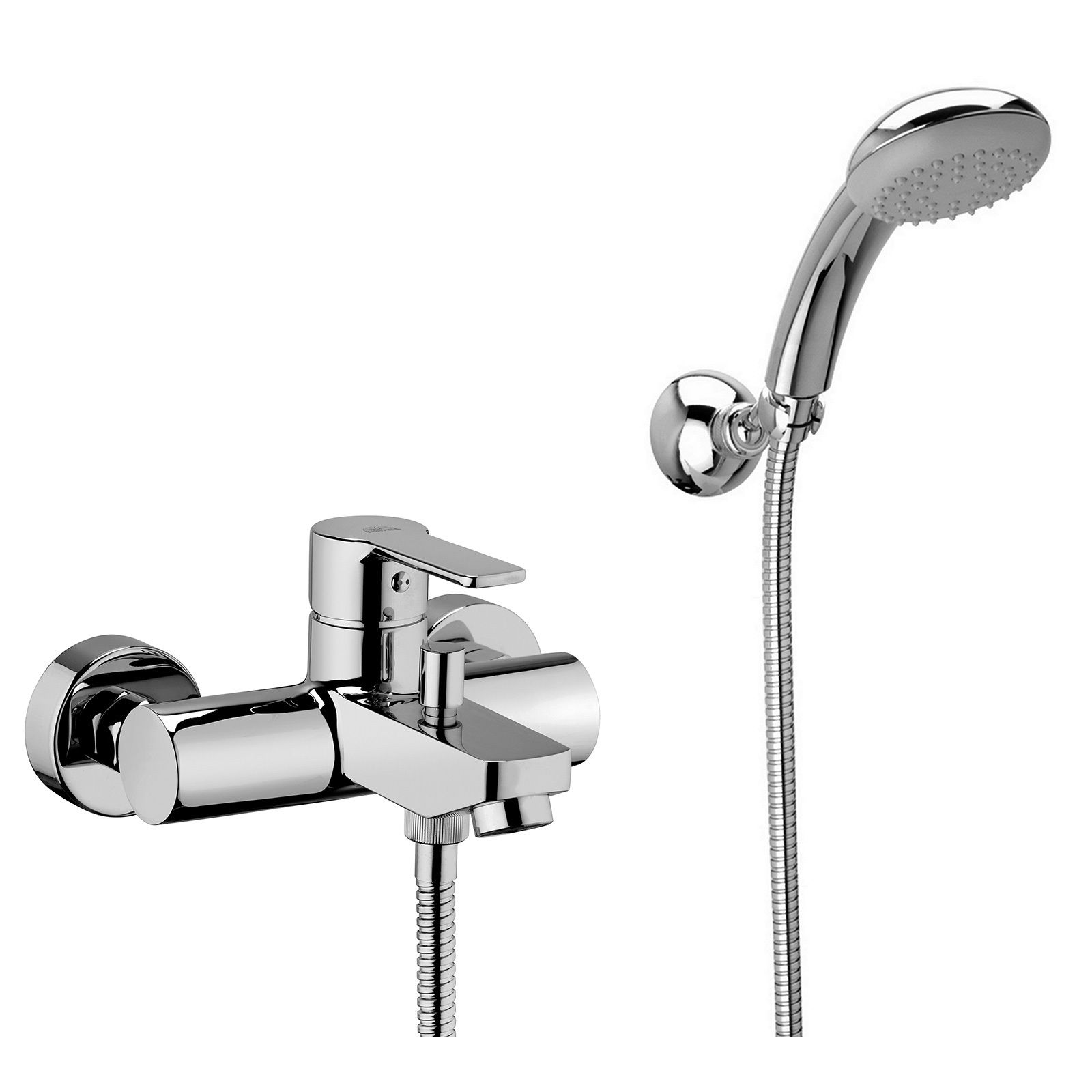 paffoni mixer faucet for bathtub with articulated wall support handheld shower and flexible hose rb028