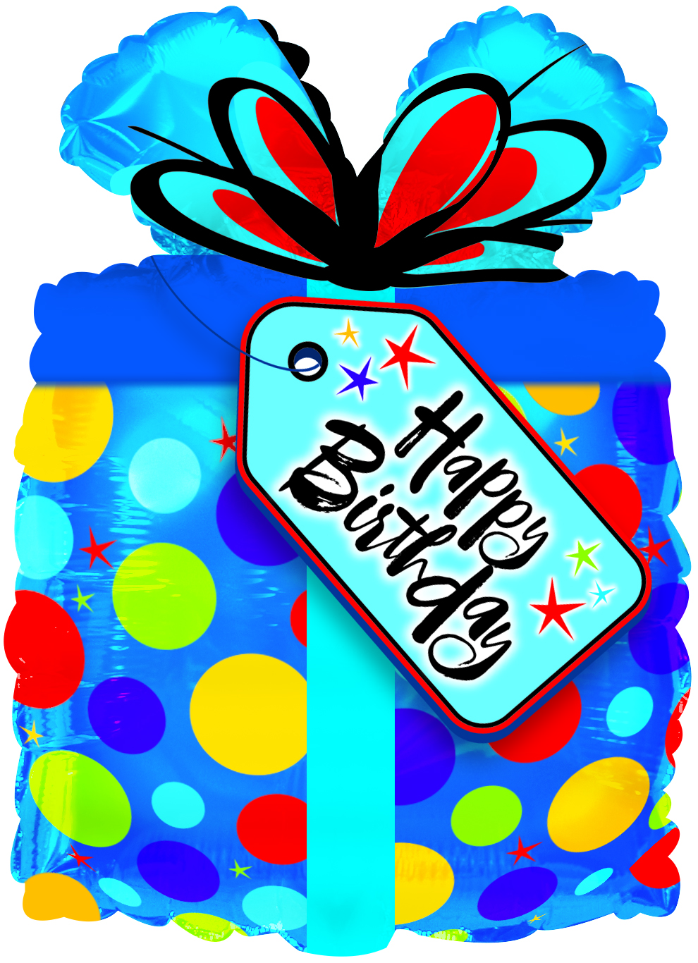 10 Airfill Only Happy Birthday Blue Present Foil Balloon Bargain Balloons Mylar Balloons And Foil Balloons