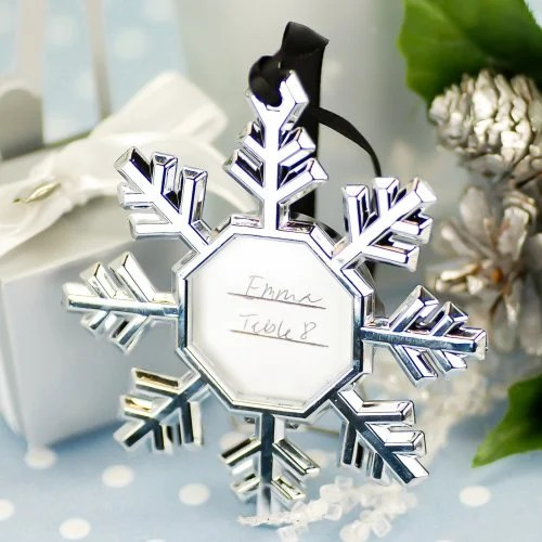 Snowflake Party Place Card Ornament Frames